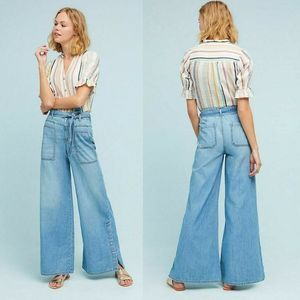 Pilcro High-Rise Wide-Leg Jeans Chambray